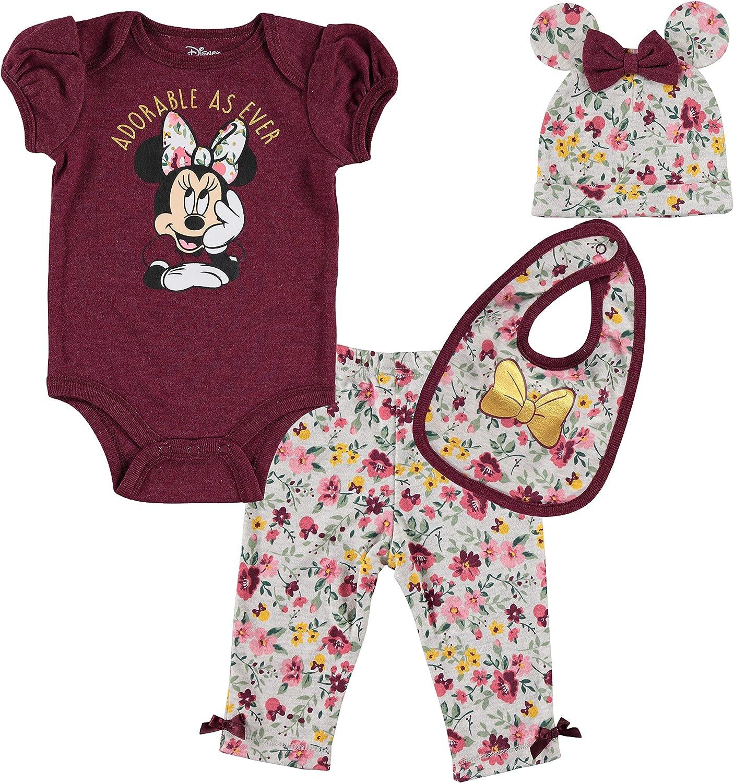 Disney Minnie Mouse Baby Girls 4 Piece Layette Set Bodysuit Pants Hat Bib
