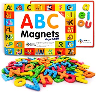 Pixel Premium ABC Magnets for Kids Gift Set - 142 Magnetic Letters for Fridge, Dry Erase Magnetic Board and FREE e-Book wi...