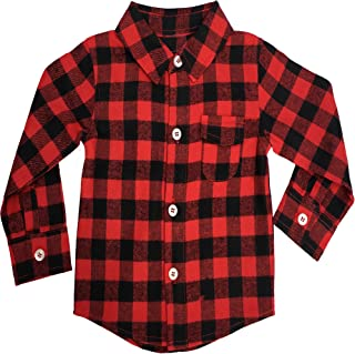Fayfaire Buffalo Plaid Baby Flannel Shirt Infant & Toddler Long Sleeve Shirt