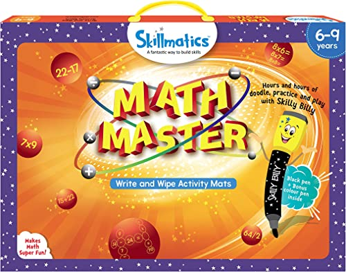 Skillmatics Educational Game : Math Master (6-9 Years)   Creative Fun Activities for Kids   Erasable and Reusable Mats