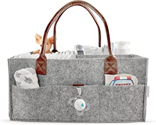 Lily Miles Nappy Caddy - Baby Nursery Storage Tote - Large Portable Car Travel Organiser - Cloth Caddies Grey Brown Trend ...