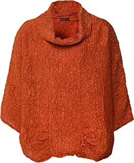 Grizas Women's Embossed Linen and Silk Cowl Neck Top Orange