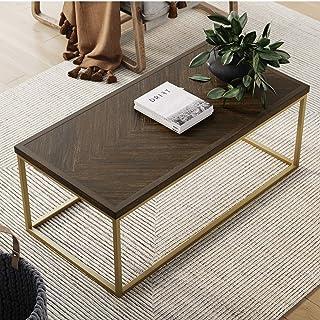 Nathan James Doxa Modern Industrial Coffee Table Wood in Herringbone Pattern and Metal Box Frame, Dark Brown/Gold