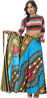 Handicraft-Palace Women's Cotton Dashiki Printed Long Regular Fit Wrap Around Skirt (Turquoise, DCWA-2, Free Size)
