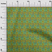 oneOone Cotton Flex Fabric Leaves,Floral & Paisley Block Printed Craft Fabric BTY 40 Inch Wide