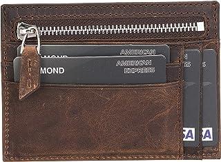 محفظة جلدية نحيفة من Bayelon مع جيب للنقود وحقيبة نقود بسحاب, , بني انتيك - Card_Holder_Zip_ERC2