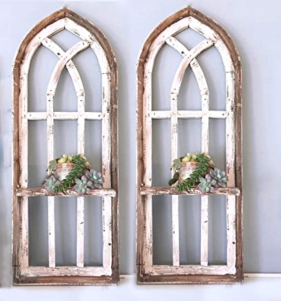 "2 Cathedral Arch Window Frames, SHELF, 36"" Farmhouse Cottage Decor, Cathedral Window Frame, Distressed Chippy Paint, Wall Decor, Farmhouse Wall, Window Frame"