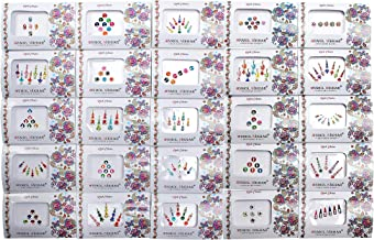 Avador Pack of 25 Assorted Bindi Multiple Sizes Multiple Designs Bollywood Indian Bride for Forehead
