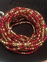 Red and Gold Waist Beads, African Waist Bead, Ghana Waist Beads, Tribal Waist Beads- Tie On(Made with Thread)