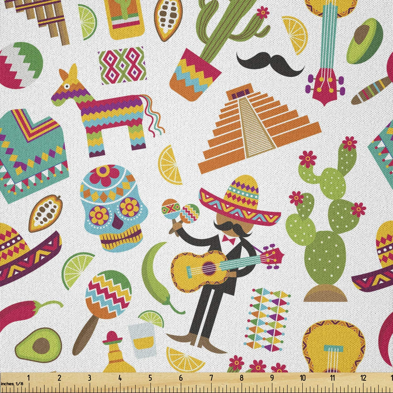 Ambesonne Mexican Fabric by The Yard Minneapolis Mall Ranking TOP7 Sugar Dead Day of Skul