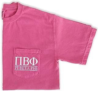 Pi Beta Phi Letters Shirt Sorority Comfort Colors Pink Pocket Tee
