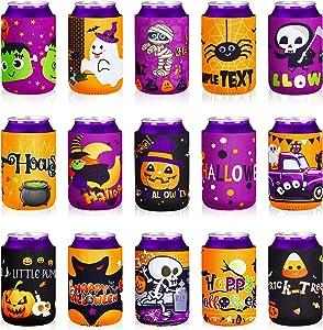 15 Pieces Halloween Can Cooler Sleeves 12 oz Neoprene Pumpkin Spider Skull Bottle Cooler Colorful Insulated Slim Beer Sleeve Skinny Bottle Sleeve for Insulator Holder Halloween Trick or Treat Beverage