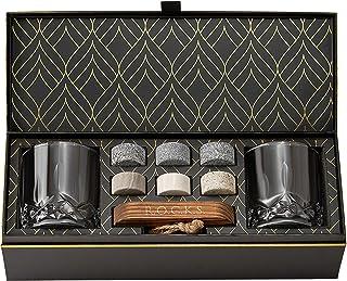 Whiskey Steine Set - 6 Handgefertigte Runde Granit Whisky Steine - 2 Kristall Whisky Gläser - Präsentations- und Aufbewahrungsbrett aus Hartholz - Whisky Geschenkset Box mit Goldfolie von Rocks