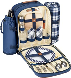 Insulated Picnic Backpack for 2 (Picnic Basket Alternative) | Cooler Compartment | Upgraded Picnic Set (Utensils, Dishes, Wine Holder, Blanket) | Food & Lunch Backpack Bag