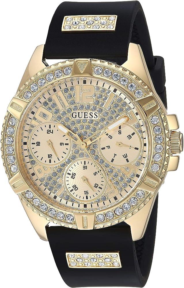 Guess,orologio per donna,cassa in acciaio dorato tempestata di cristalli,cinturino in silicone U1160L1