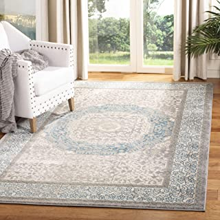 Safavieh Sofia Collection SOF365A Vintage Light Grey and Blue Center Medallion Distressed Area Rug (3' x 5')