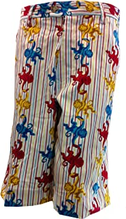 Flow Society Shorts Hanging Monkey Red Blue Gold 95% Poly 5% Spandex Adult