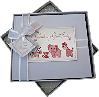 White Cotton Cards Christening Toys Range Guest Book (Pink)