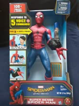 spider-man homecoming Marvel Super Sense Spider-Man Motorized 25'' Inches Tall 100+ Phrases Responds to 5 Voice Commands Eyes Light Up Shoots Web Fluid New in Unopened Box