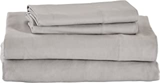 Stone & Beam Rustic Solid 100% Cotton Flannel Bed Sheet Set, Queen, Cloud