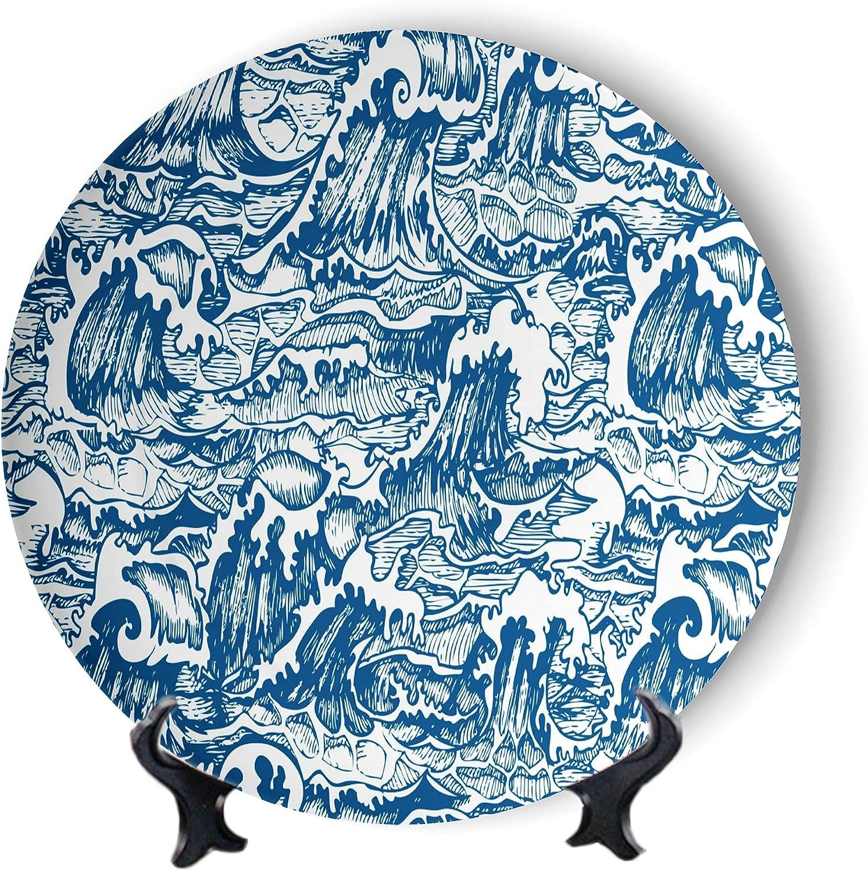 price MOOMOO Japanese Waves Decorative Ranking TOP13 Plates Pattern Furnitu Blue Sea