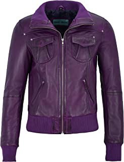 Fusion' Ladies Purple Washed Short Bomber Biker Motorcycle Style Leather Jacket 3758