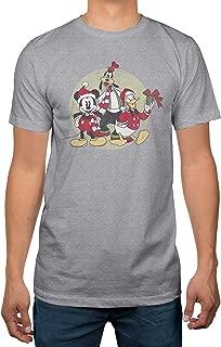 Mickey Christmas Group Mens Heather Grey T-Shirt