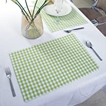 Cotton Placemats, Set Of 4, Double Sided Placemats (13 x 19 Inches), Green & White Check - Perfect For Spring, Summer, Holidays - Christmas And For Everyday Use