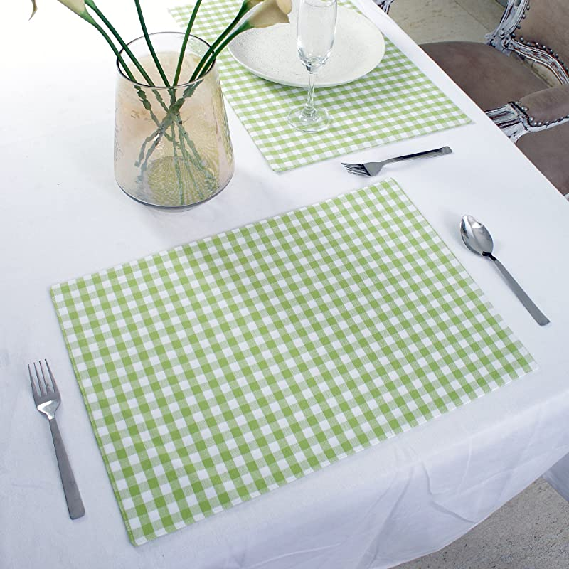 Cotton Placemats Set Of 4 Double Sided Placemats 13 X 19 Inches Green White Check Perfect For Spring Summer Holidays Christmas And For Everyday Use