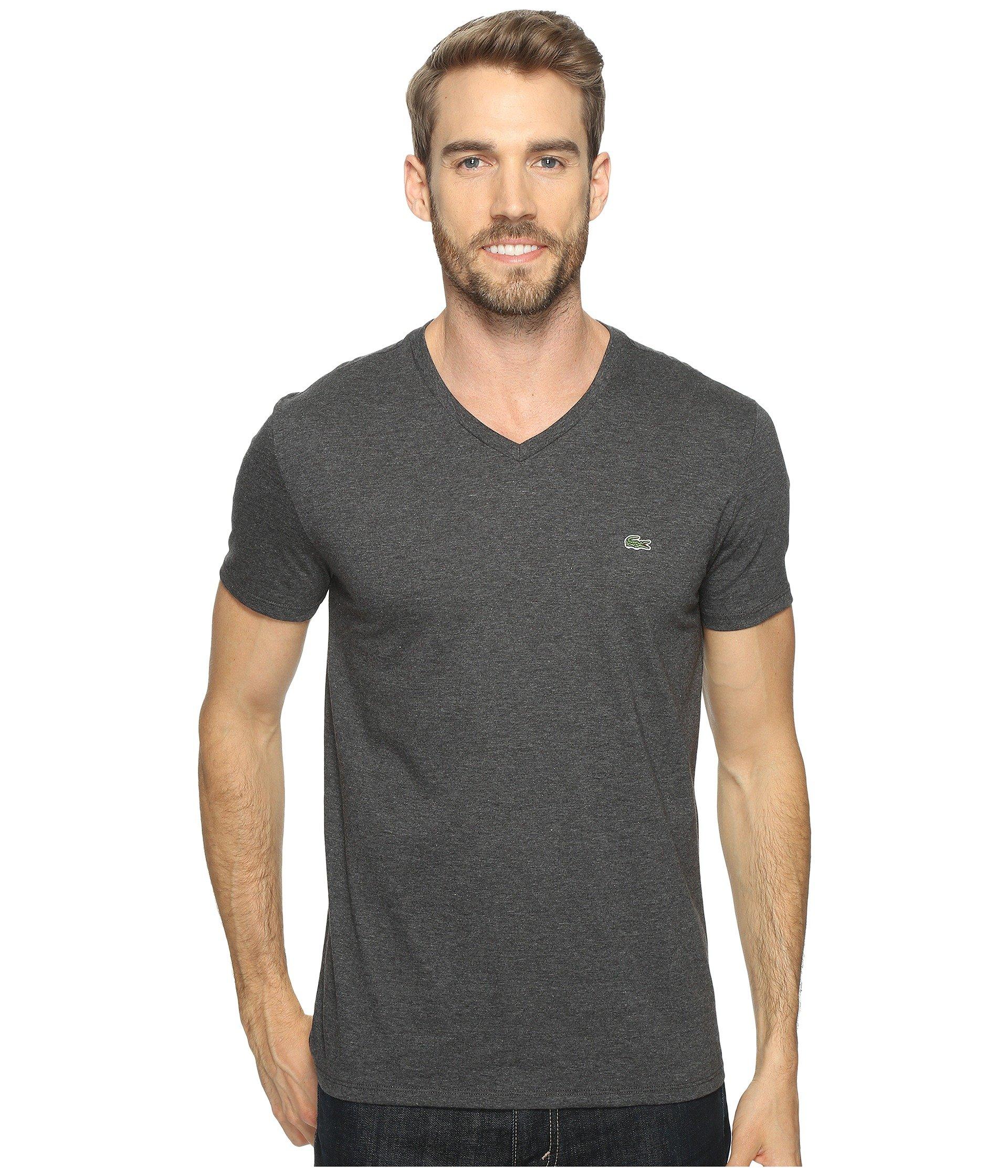 d1c9da95f479 Lacoste Short Sleeve Pima Jersey V-Neck T-Shirt In Urban Grey Chine