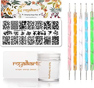 Royalkart Nail Stamping Kit 1 Stamping Image Plate, Jelly Nail Silicone Stamper & Scraper & Dotting Tool With Flower Serie...