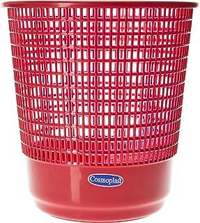 Cosmoplast Plastic Round Trash Waste Bin Paper Basket Large, Dark Red, 15 Liters, IFHHBK042DR