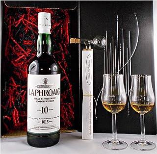 Geschenk Laphroaig 10 Jahre Single Malt Whisky  Glaskugelportionierer  2 Bugatti Gläser