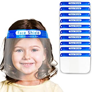 V by Vye   Kids Anti-Fog Face Shields   10 Pack Protective Corrosion-Resistant Lens, Lightweight Transparent Safety Shield with Elastic Band   For Children - Ships Direct from USA