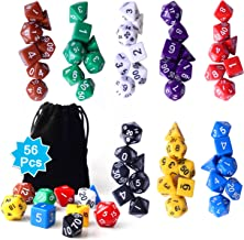 Zealor 56 Pieces Polyhedral Dice 8 Color Dungeons and Dragons DND MTG RPG D20 D12 D10 D8 D6 D4 Game Dice Set