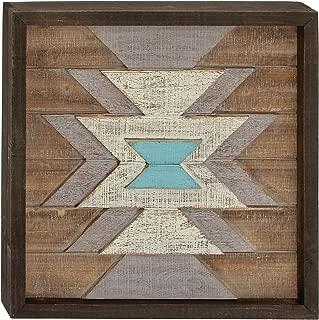 Benzara 95452 Wood Wall Plaque, Dark Brown, White, Cyan, Blue