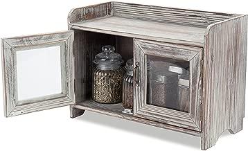 MyGift Rustic Wood Kitchen & Bathroom Countertop Cabinet w/Glass Windows