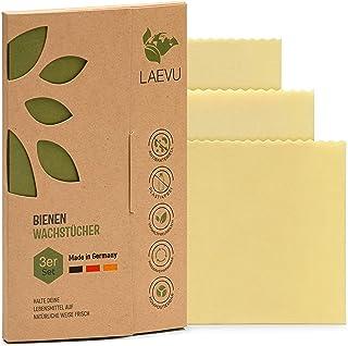 LAEVU - 3er Set - Bienenwachstücher Made in Germany - ohne Farbstoffe - Premium Bienenwachstuch als Alternative für Alu- und Frischhaltefolien - langlebige Beeswax Food wrap