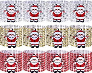 Boao 12 Pieces Santa Claus Napkin Rings Christmas Table Rings for Wedding Banquet Christmas Themed Party Table Decoration, 3 Colors