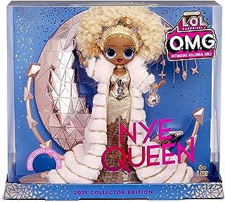 LOL Surprise Holiday OMG 2021 Collector Fashion Doll - NYE QUEEN - Met gouden fashion, accessoires & oplichtende standaard...