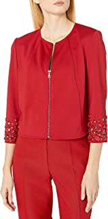 Anne Klein Women's Embelished Sleeve Zip Front Jacket