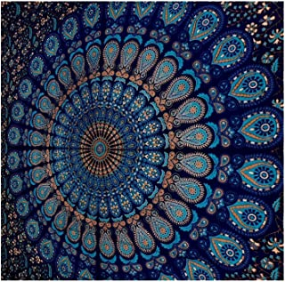 GLOBUS CHOICE INC. Blue Tapestry Wall Hanging Mandala Tapestries Indian Cotton Bedspread Picnic Bedsheet Blanket Wall Art Hippie Tapestry