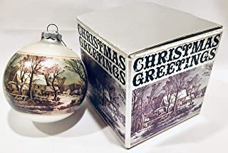 Currier & Ives Winter in The Country Old Grist Mill 3 Inch Corning Glass Ornament by Christmas Greetings Collection