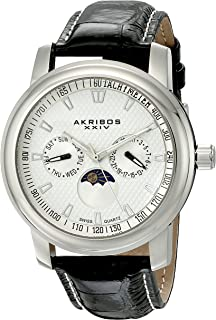 Akribos Xxiv Men's Quartz Watch, Analog Display And Leather Strap