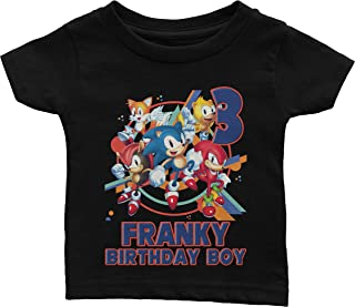Sonic the Hedgehog birthday shirt with name and digit