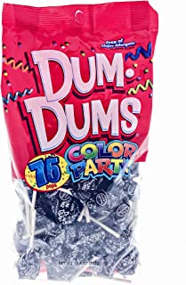 Black Dum Dums Color Party - Black Cherry Flavored - 75 Count Bag - 12.8 ounces - Includes Free How To Build a Candy Buffet Guide
