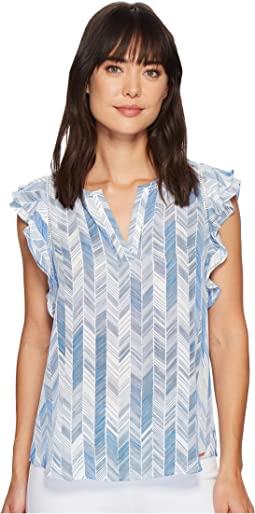 Ivanka Trump Georgette Sleeveless Ruffle Blouse