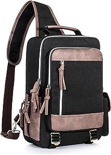 Shoulder Bag for Men Waterproof Messenger Sling Cross Body Bag Travel Outdoor Gym Backpack Black