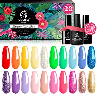 Beetles Pack of 23 Rainbow Summer Gel Nail Polish Kit, Soak Off LED Lamp Gel Nail Polish Set Glitter Nude Gel Polish Start...