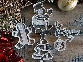 ELACE - Emporte-pièce Noël - Pack de 4 - Gros Biscuits détailés - Patisserie, sablé, Biscuit, pâte à Sucre, pâte à Modele...